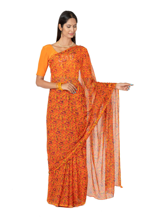 Digital Print Viscose Chiffon Saree