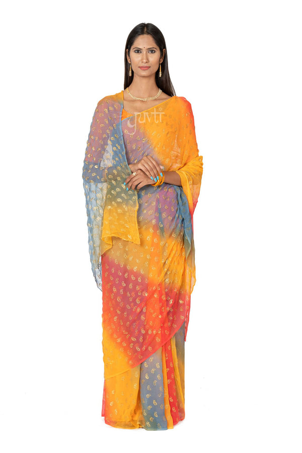 Shaded Phawari Viscose Chiffon Saree