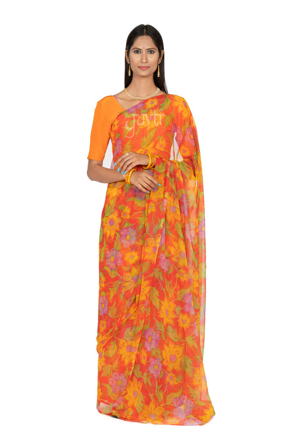 Flower Print Viscose Chiffon Saree