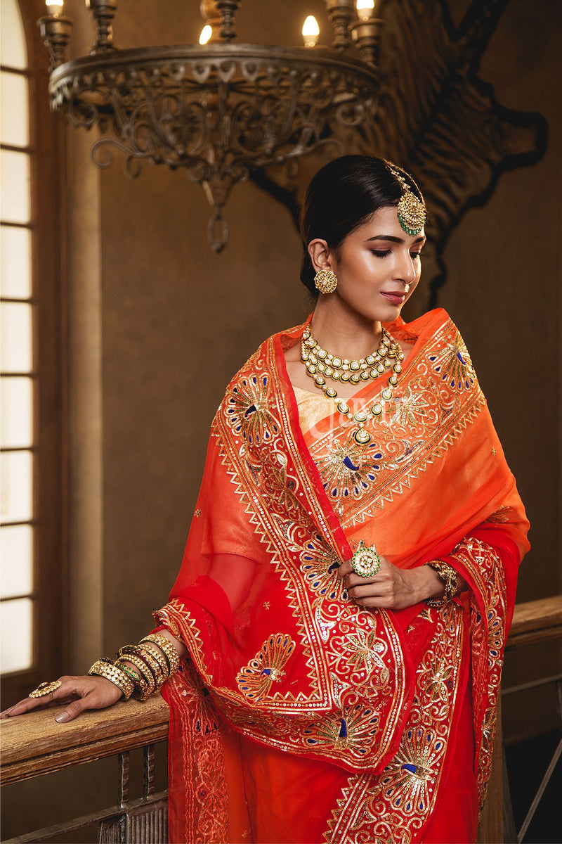 Orange Resham Sikhiya Sequins Saree - Yuvti