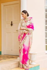 Aari Cut Work & Sequins Pink & Cream Saree - Yuvti