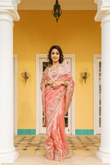Gota Patti Resham Zardosi Tissue Light Carrot Red Saree - Yuvti