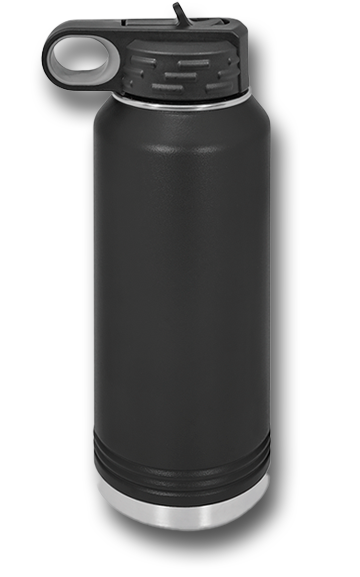 32oz Red Wolves Customizable Black Water Bottle