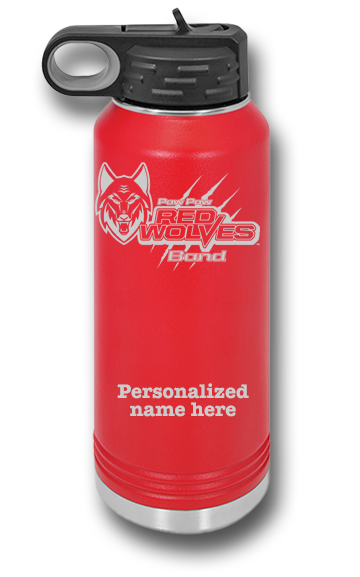 32oz Red Wolves Band Water Bottle