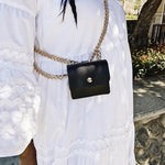 Load image into Gallery viewer, Black Pouch With Gold Chain Hardware