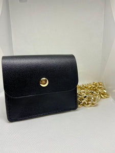 Black Pouch With Gold Chain Hardware