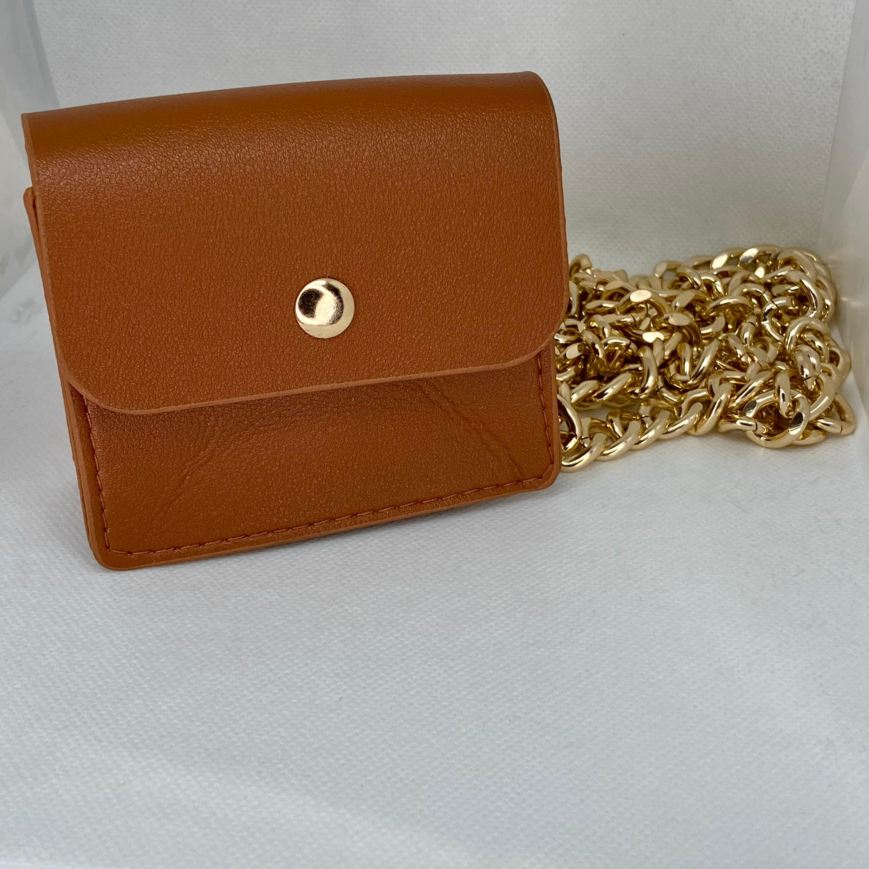 Camel Pouch With Gold Chain Hardware