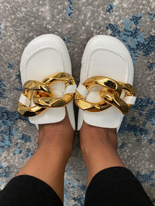 White Chunky Chain Loafer Mules