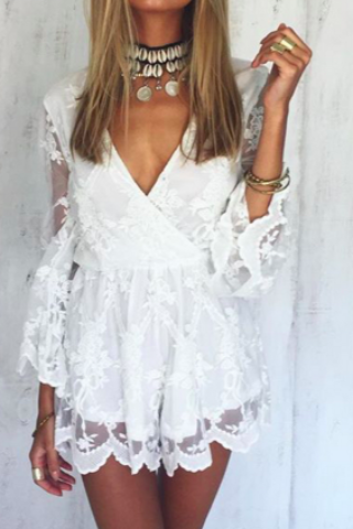 Primp White Lace Detail Romper