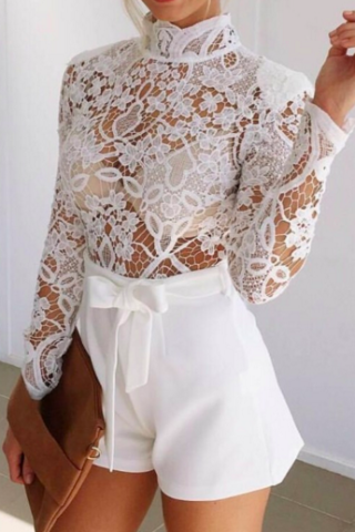 Brulee Lace White Romper