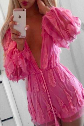 Pink Feather Detail Romper