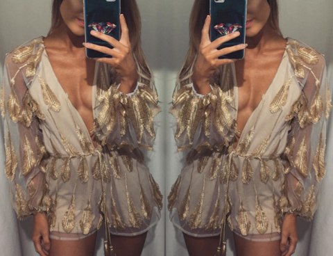Gold Sheer Feather Detail Romper