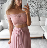 Pink Lace Detail Maxi Set