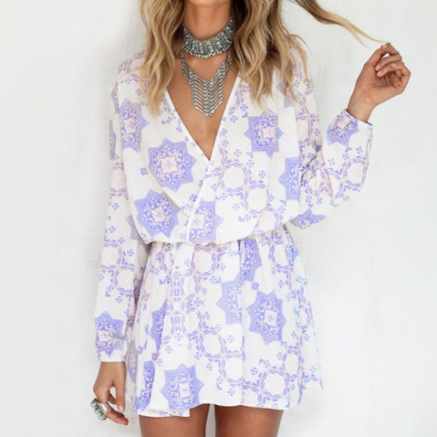 Lavender Vamped Long-Sleeve Dress
