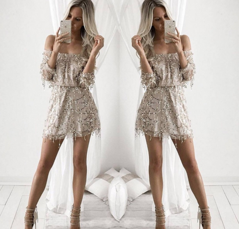 Jasmine Sequin Off-the-Shoulder Playsuit