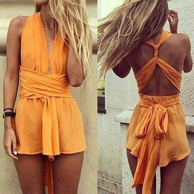 Orange Wrapped Romper