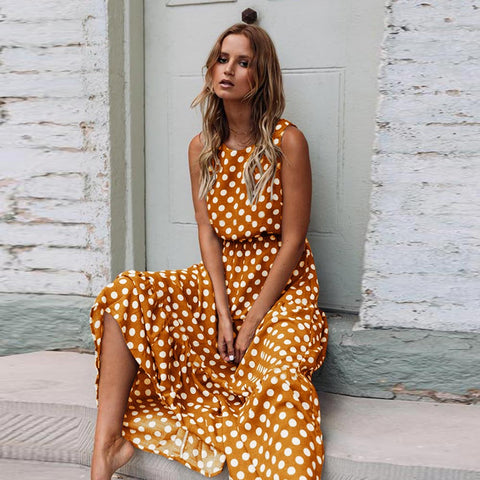 Polka Dot Print Beach Summer Long Dress