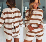 Two Piece Back Lace Up Sweater and Shorts Set