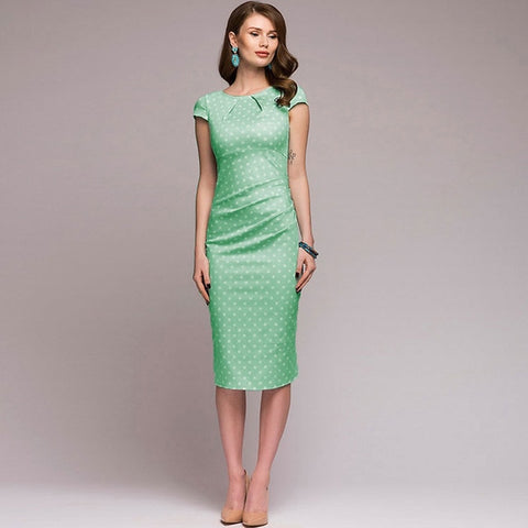 Polka Dot Print Retro Pencil Dress