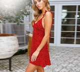 Polka Dots Red Boho Beach Dress
