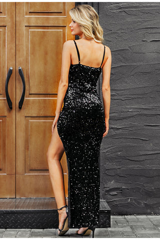 Sexy V-Neck Sequined Long Dress
