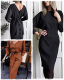 High Waist Batwing Sleeve Long Party Dress