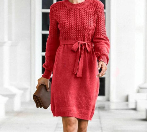 Soft Belt A-Line Women Knitted Dress