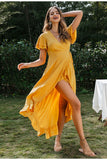 Casual Solid Yellow Wrap Dress