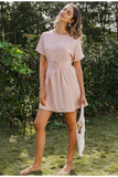 Lady O-Neck Chic Solid Pink Casual Dress
