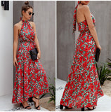 Halter Polka Dot Print Backless Cotton Maxi Dress
