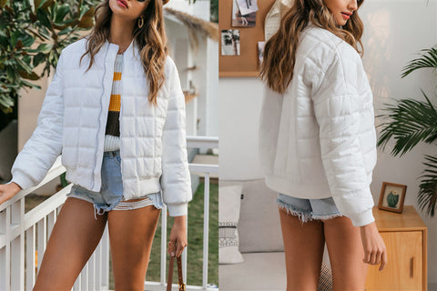 Fashion Plaid Warm White Jacket