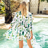 Cactus Print Chiffon Robe Beach Dress Cover Up