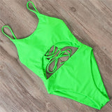 One Piece Sexy Lace Up Backless Swimsuit