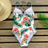 One Piece Floral Ruffle Swimsuit