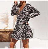 Leopard Print V-neck Wrap Sleeve Mini Dress