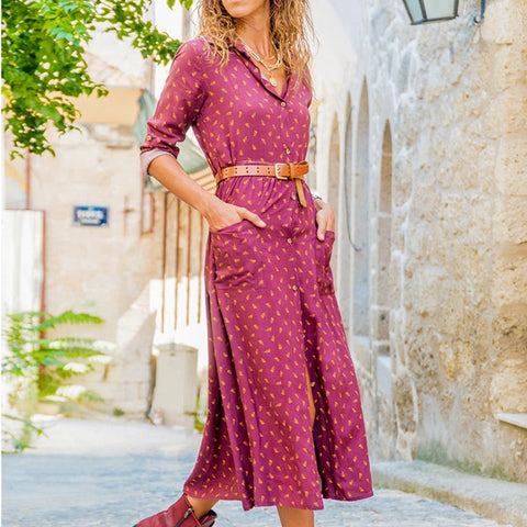 Long Chiffon Boho Print Beach Shirt Dress