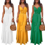 Button Up Spaghetti Strap Backless Casual Long Dress