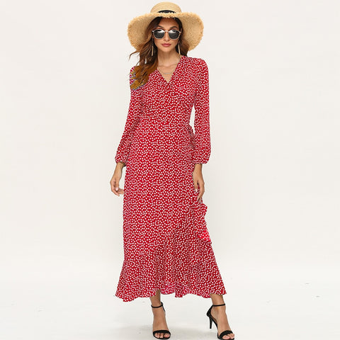 Floral Print Long Sleeve Ruffle Wrap Slit Maxi Dress