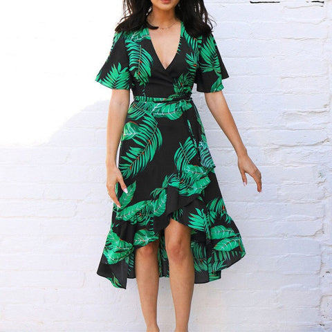 Floral Print Boho Style Summer Beach Dress