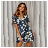 Floral Short Sleeve Tunic High Waist Mini Dress