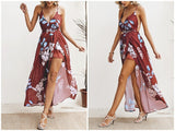 Backless Deep V Neck Chiffon High Slit Boho Dress