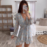 Ruffle Long Sleeve Hollow Out Wrap Beach Dress