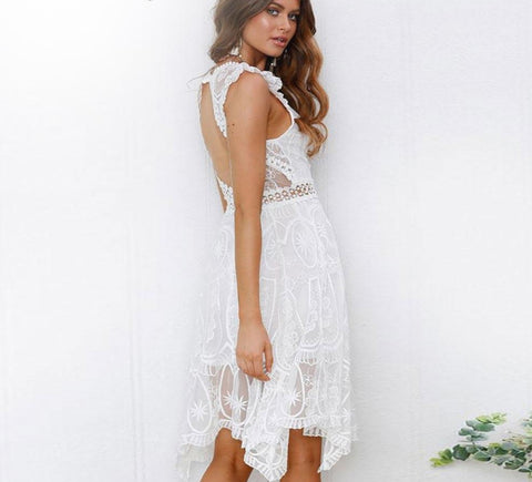 Backless Boho White Lace Summer Dress