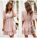 Hollow Ruffle Fitted Mini Short Sundress