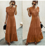 Ruched A-Line T-shirt Maxi Dress