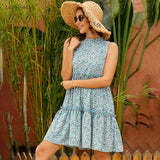 Floral Ruched Tank Chiffon Dress