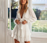 Ruffle Bow Cotton Soft Short Dress