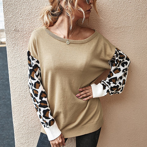 Loose Animal Print Sleeve Sweater
