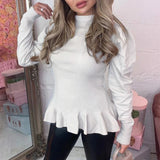 Elegant Round Neck Long Sleeve Pullover Sweater