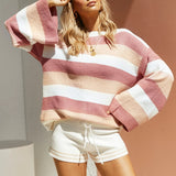 Striped High Collar Pullover